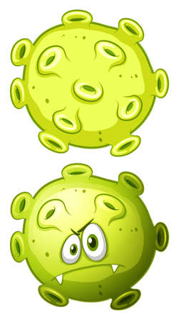 dirty: Close up bacteria front and back view illustration Illustration