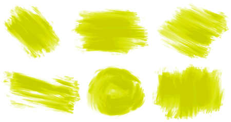 crayons: Different stroke of yellow paint illustration Illustration