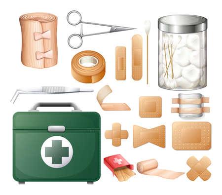 equipos medicos: Equipo médico en firstaid rectángulo de la ilustración Vectores