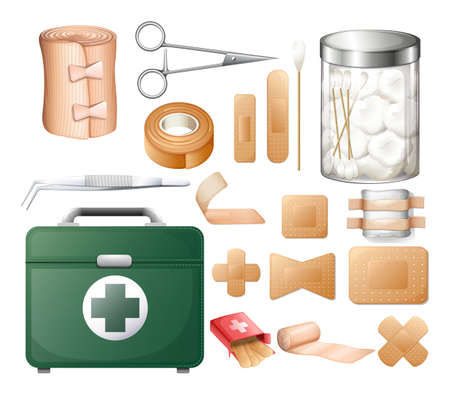 Medical equipment in firstaid box illustration