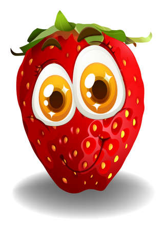 red eye: Strawberry with smiling face illustration Illustration