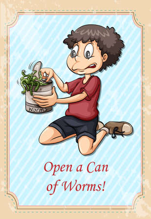 idiom: Idiom open a can of worms illustration