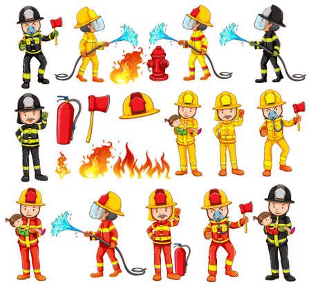 Firemen and equipments set illustration Illustration