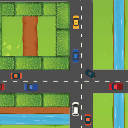 intersection: Intersection with a lot of cars illustration