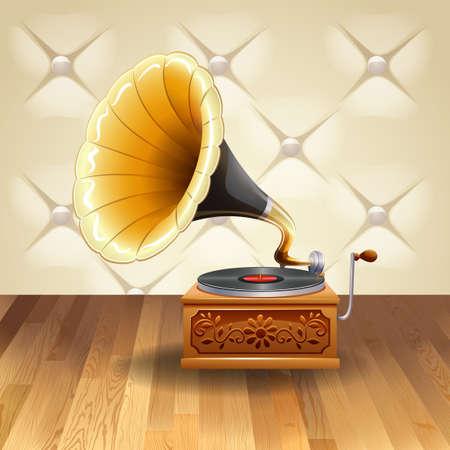 grabadora: Gram�fono con el registrador en ella ilustraci�n Vectores