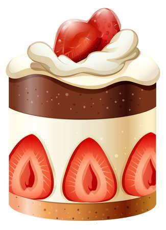 pastel de chocolate: Pastel de chocolate y fresa ilustración Vectores