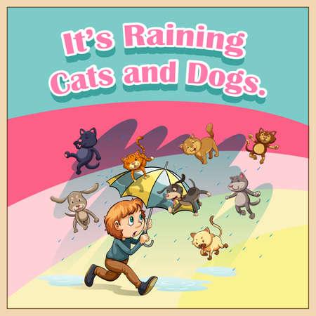 raining background: Raining cats and dogs illustration