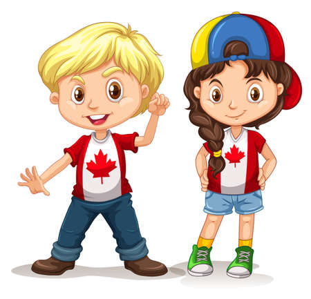 Canadian boy and girl smiling illustration Illustration