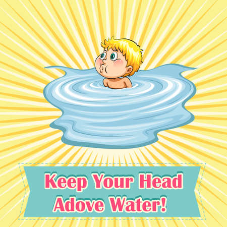 figurative art: Keep your head above water illustration Illustration