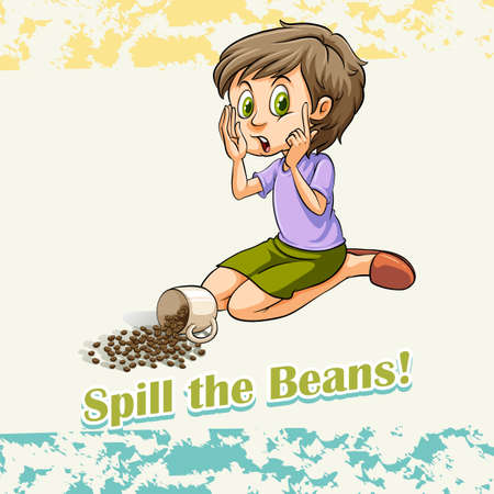 idiom: Idiom spill the beans illustration