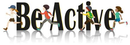 children running: Children running and text illustration