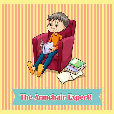 experte: Idiom der Sessel Experte illustration Illustration