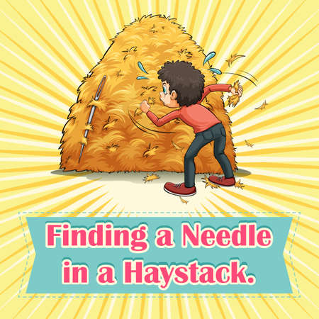 Finding a needle in a haystack illustration