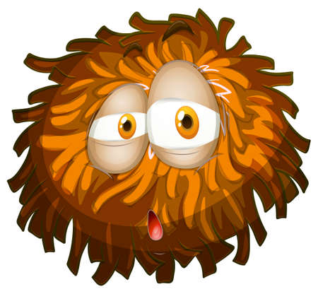 surprising: Fluffy ball with face illustration