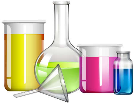 mixtures: liquid substance in glass containers illustration
