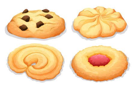 snack: Four different flavours cookies illustration