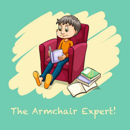 to sit: Hombre sentado en el sillón leyendo ilustración