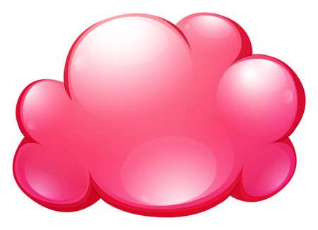 cartoon cloud: Pink cloud on white illustration