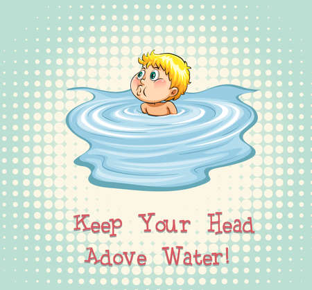 figurative: Keep your head above water illustration Illustration