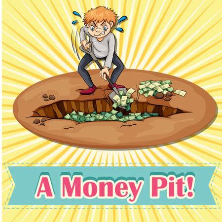 saying: Old saying money pit illustration