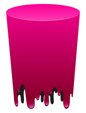 cylindrical: Pink cylindrical form on white illustration