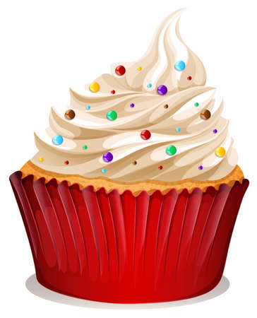 cupcakes isolated: Cupcake with cream and sprinkles illustration Illustration