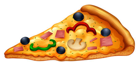 Slice of pizza on white illustration