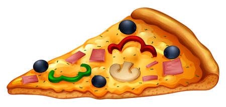 Slice of pizza on white illustration