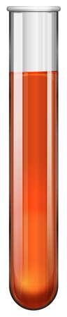 biology lab: Orange liquid in test tube illustration Illustration