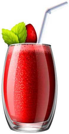cold drinks: Strawberry smoothie in glass illustration Illustration
