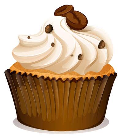 cupcake illustration: Chocolate topping cupcake on white illustration