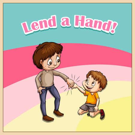 helping: Old saying lend a hand illustration Illustration