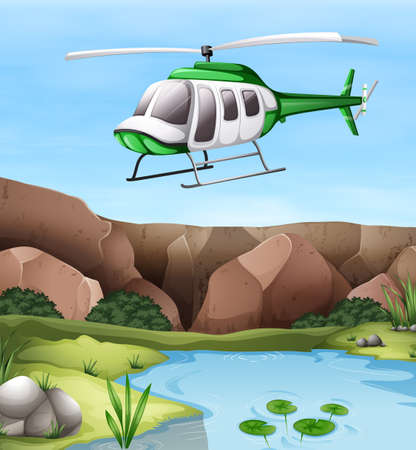 helicopter: Helicopter flying over the cliff illustration