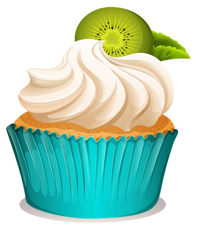 kiwi fruit: Cupcake with cream and kiwi fruit illustration