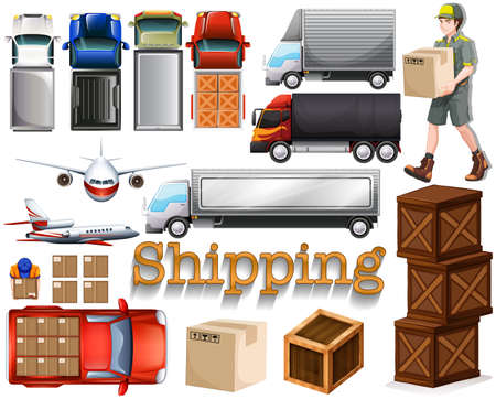 postal: Cargo service with different transportation illustration Illustration