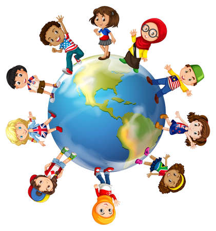 worlds: Children standing on globe illustration Illustration
