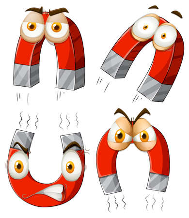 magnetic clip: Magnet with facial expressions illustration Illustration