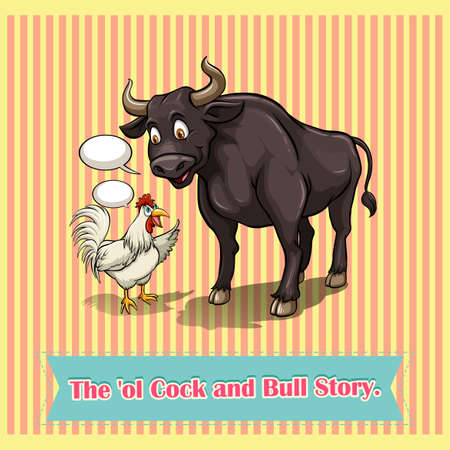 tell stories: Cock and bull talking illustration Illustration