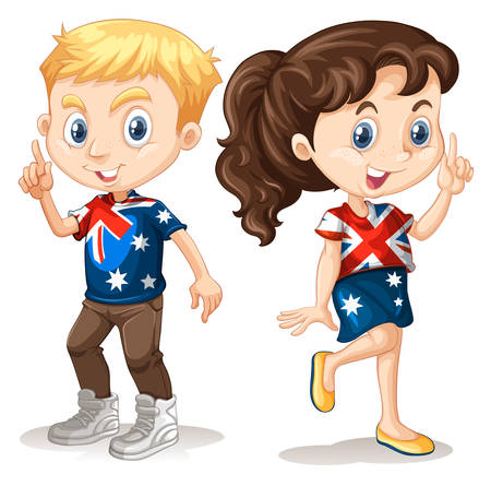 golden hair: Boy and girl in american t-shirts  illustration