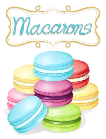 flavours: Poster of different flavours macarons illustration