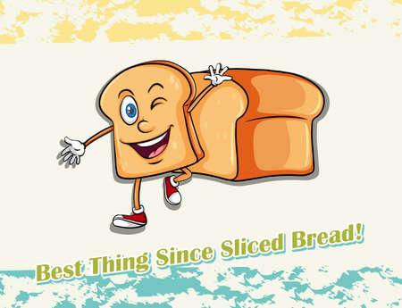 sliced: Pan de molde Ilustraci�n feliz saludando