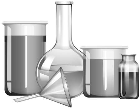 substances: Greyscale science glasses with liquid substances illustration