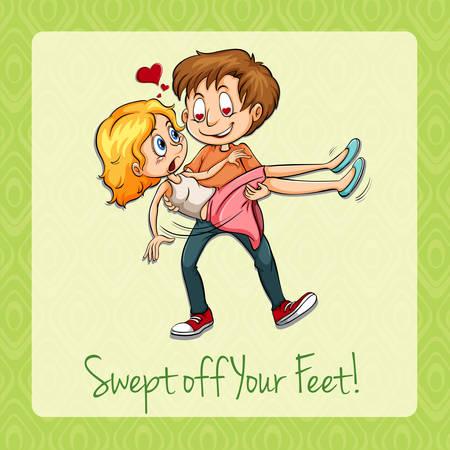 comedy: Idiom swept off your feet illustration Illustration