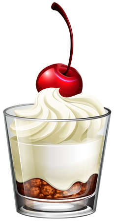 dessert: Pudding cream in glass with cherry illustration Illustration