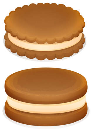close up food: Sandwich cookies with cream illustration