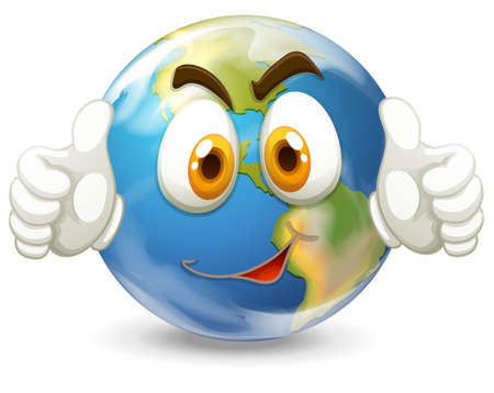 carita feliz: Tierra con la cara feliz ilustraci�n