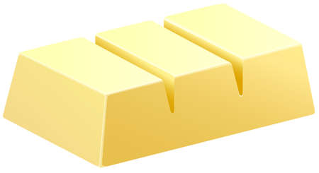 White chocolate bar in three pieces illustration
