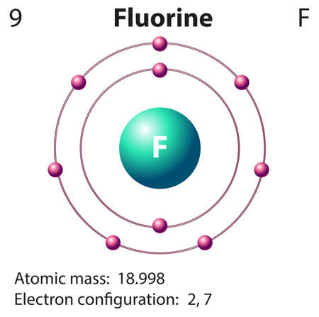 electron shell: Diagram representation of the element fluorine illustration Illustration