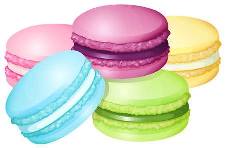 Colorful macaron on white illustration
