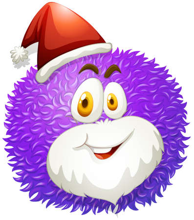 smile close up: Purple fluffy ball with Santa hat illustration